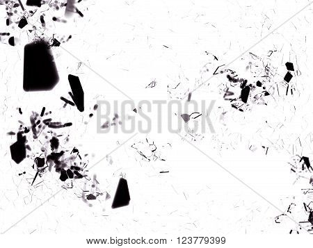Pieces Of Splitted Or Cracked Glass On White In The Dark