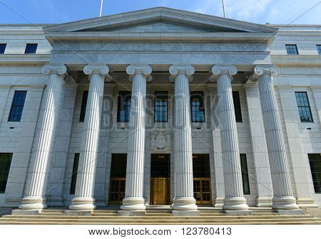 New York Court of Appeals Building was built with Greek Revival style in 1842 in downtown Albany, New York State, USA