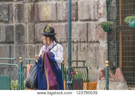 Ecuadorian Traditonal Costumed Woman