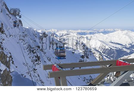 HINTERTUX GLACIER, AUSTRIA - MARCH 17, 2016: The cable car that leads to the top of the Hintertux Glacier. Tyrol Austrian Alps 3250 meters above sea level.