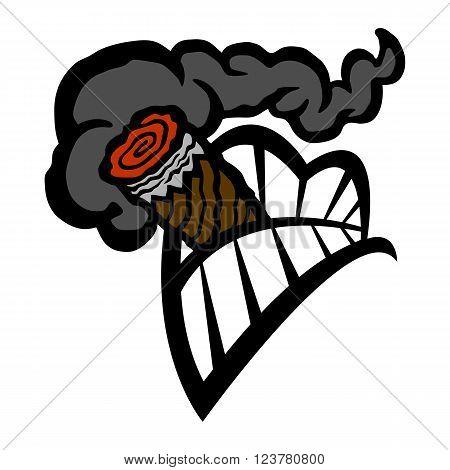 Cigar Smoking Tobacco Mouth Teeth vector icon