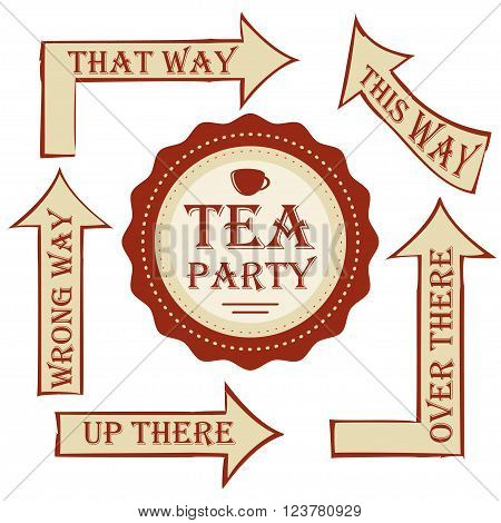 Tea party package. vector set signpost with sticker. set to decorate wedding or birthday party in style Alice in Wonderland