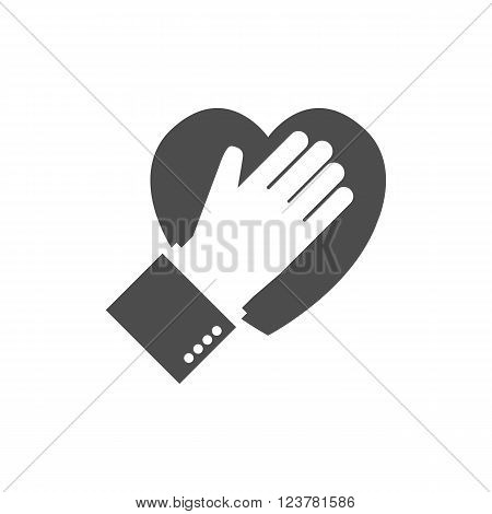 Hand on heart icon. Logo. Flat design. Pledge icon. Vector illustration. Allegiance icon. Black icon on white background.