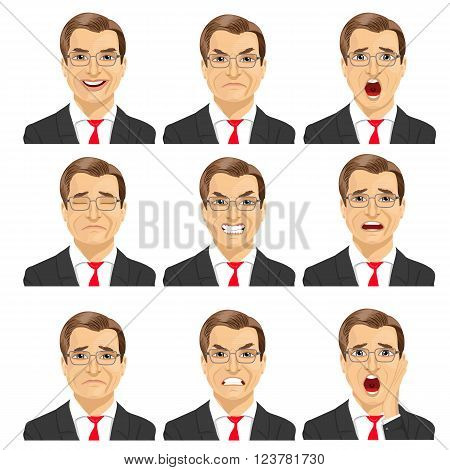 set of different expressions of the same middle aged businessman with glasses over white background