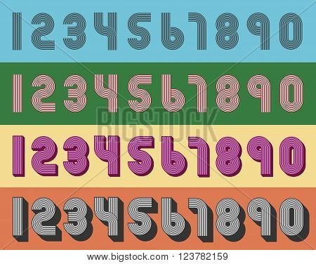 Vector Illustration of vintage geometric numbers style from the seventies