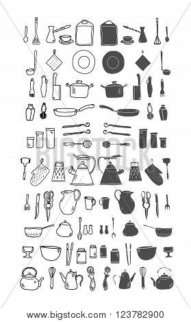 Kitchenware. Doodle set in vector isolated on a white background. Hand drawn illustration.