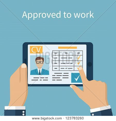 Approved To Work. Employer On The Tablet Looking Resume.