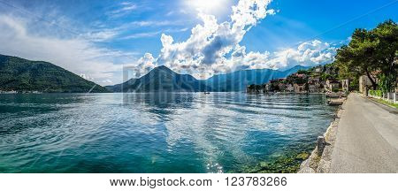 Panoramic view on Kotor bay on summer day in Montenegro