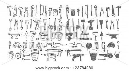 Construction tool collection. Doodles. Vector. Silhouette. Isolated.