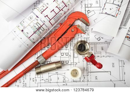 Architecture plan with turn-screw and fixers. Building concept