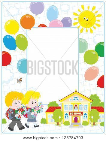 Vertical vector frame border with a little schoolgirl and a schoolboy going to school with their schoolbags and flowers on September 1st