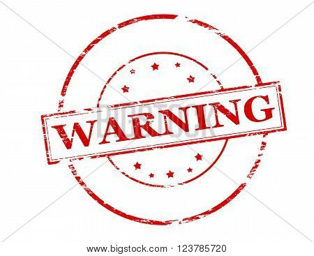 Rubber stamp with word warning inside vector illustration