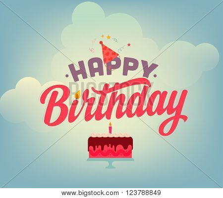 Vintage Happy Birthday Typographical Background
