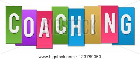 Coaching word alphabets written over colorful background.