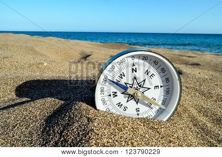 Photo Picture of  a Compass on the Sand Beach ** Note: Soft Focus at 100%, best at smaller sizes