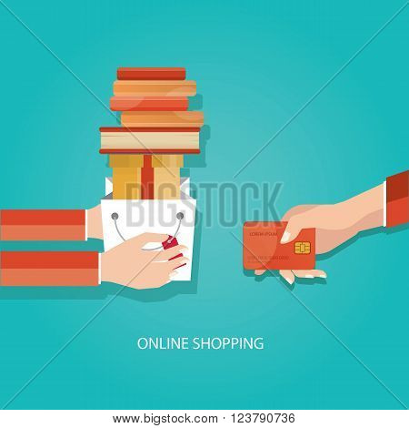 Vector Illustration Of Online Shopping, Delivery Service