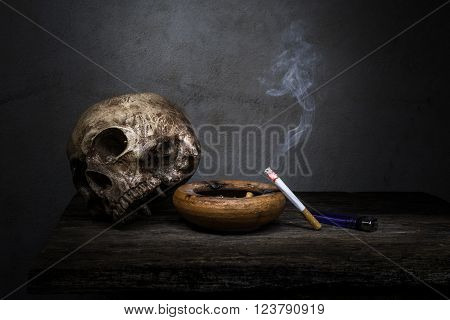 Still Life Skull And Cigarette People Smoke Cigarette And Get Toxin Body Look Like Way To Die. In Th