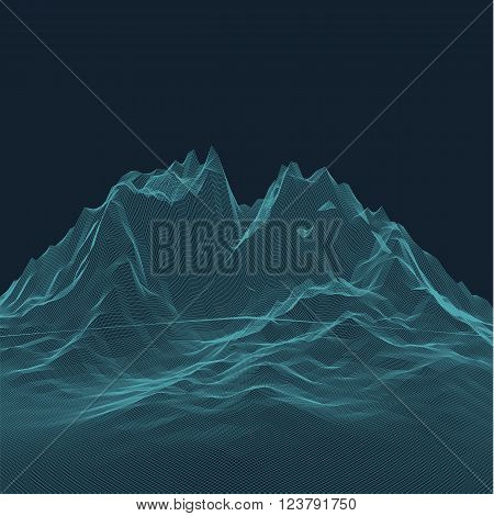 Abstract vector landscape background. Topographic attitude relief grid. Lowpoly surface.