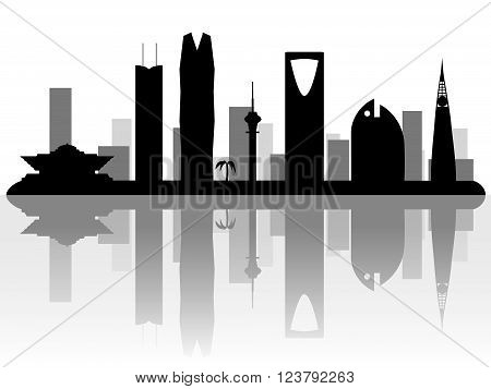 Riyadh Saudi Arabia skyline silhouette on white background