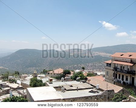SAFED, ISRAEL - JUNE 29, 2008: The panorama of Old City Safed on June 29, 2008 in Israel