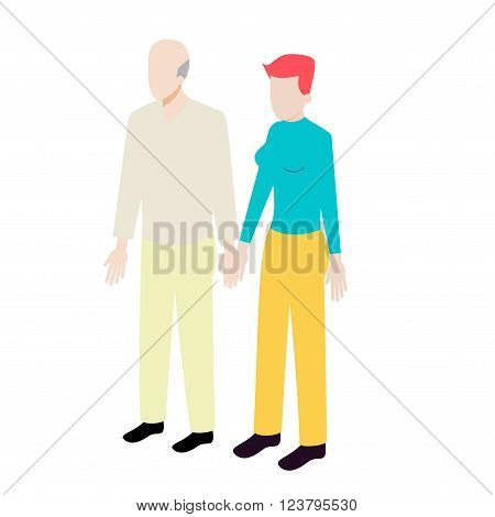 Isometric couple of old man and young woman standing holding hands