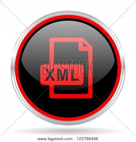 xml file black and red metallic modern web design glossy circle icon