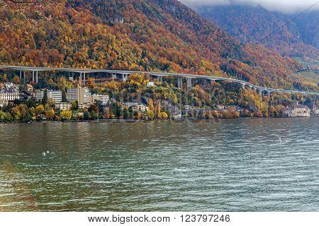 Panoramic view of Alps near resort of Montreux, Switzerland