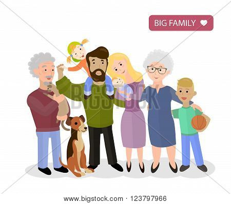 Big Happy Family. Parents with Children. Father and mother children grandpa and grandma and pets vector flat illustration
