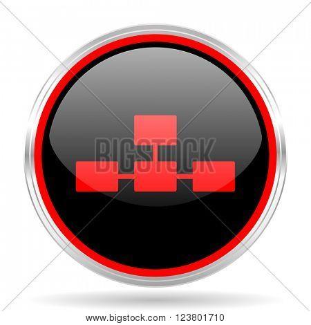 database black and red metallic modern web design glossy circle icon