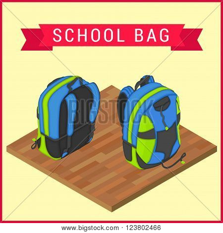 Schoolbag flat isometric. Knapsack vector icom. Flapacksack flat pictorgram. Haversack on wooden floor vector illustration. Flat satchel. Rucksack vector. Colorful backpack isometric.