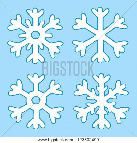 Cartoon four snowflakes on a blue background vector illustration