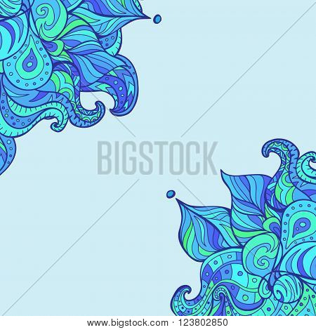 Vector doodle leaves & paisleys corner. Wavy corner created for invitation card design background wallpaper notebook wrapping. Winter style corner.