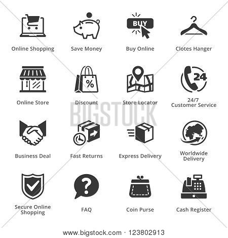 E-commerce Icons - Set 5. This set contains e-commerce icons that can be used for designing and developing websites, as well as printed materials and presentations.