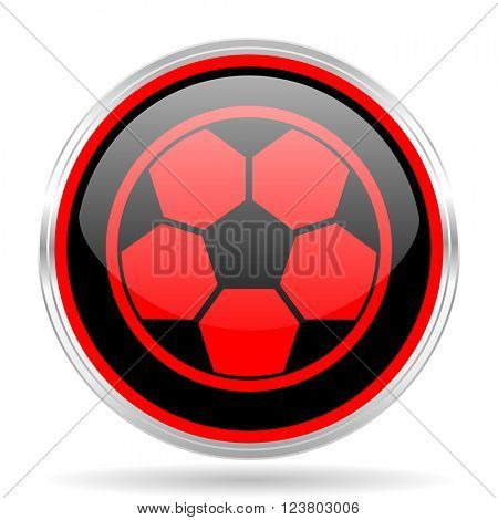 soccer black and red metallic modern web design glossy circle icon