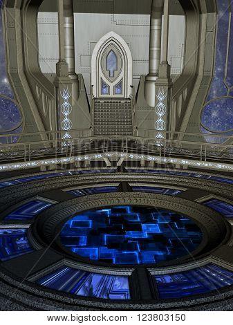 futuristic room in the sky with big door