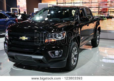 NEW YORK - MARCH 23: A Chevrolet Colorado Z71 at the 2016 New York International Auto Show during Press day,  public show is running from March 25th through April 3, 2016 in New York, NY.