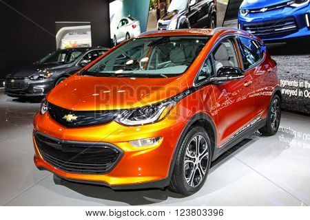NEW YORK - MARCH 23: A Chevrolet Bolt EV at the 2016 New York International Auto Show during Press day,  public show is running from March 25th through April 3, 2016 in New York, NY.