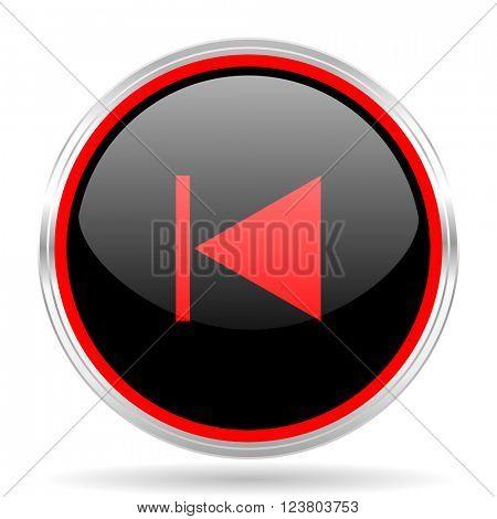 prev black and red metallic modern web design glossy circle icon