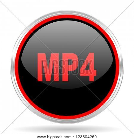 mp4 black and red metallic modern web design glossy circle icon