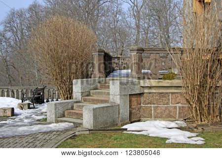 Sigulda, Latvia - March 17, 2012: Porch Of Neogothic Sigulda New Castle In Latvia