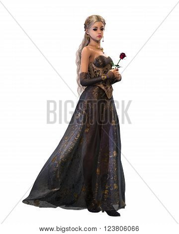 3d computer graphics of a cute fairytale princess with a purple dress and a red rose in her hand