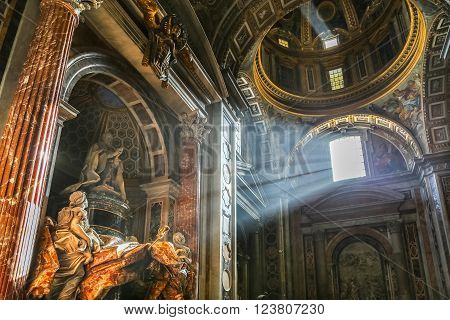 Vatican Italy - June 26 2014: The sun's rays pour at the interior of the Saint Peter Cathedral in Vatican.