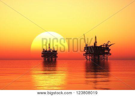 Industry at dawn. 3D rendering