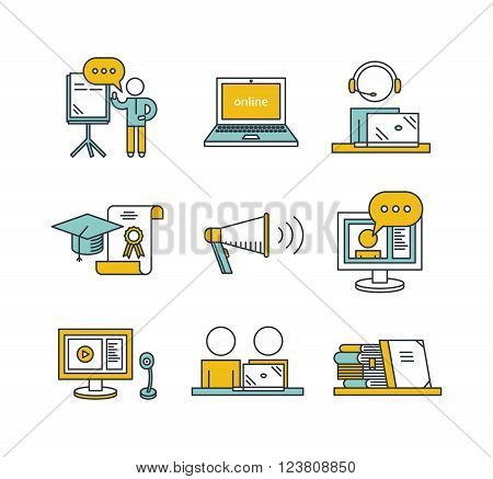 Outline education icon set. Online education concept. Man watching or holding online webinar, computer and webcam,  viewers, online translation, books, graduate cap and charter.
