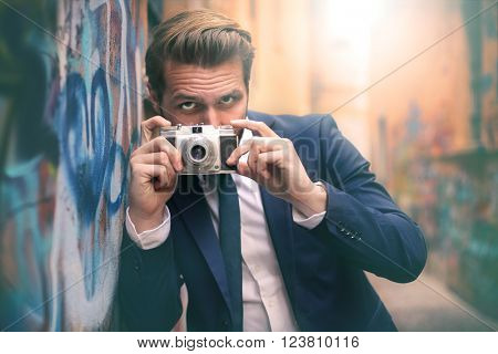Taking a picture with a vintage camera
