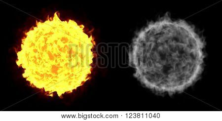 A Fireball isolated on a black background with alpha channel