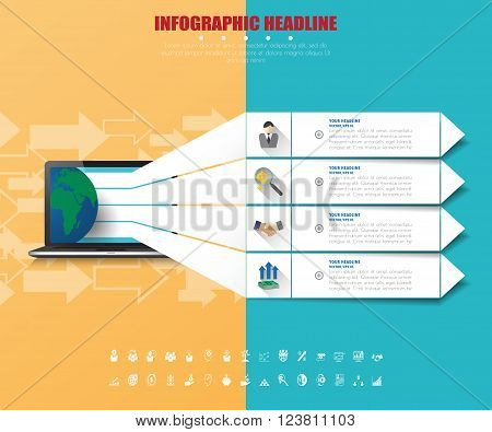 Business Infographics With Icons Set. Vector. Illustration.