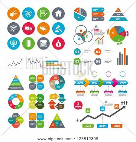 Wifi, calendar and web icons. Real estate, auction icons. Handshake, for sale and money bag signs. Keys, delivery truck and door symbols. Diagram charts design.