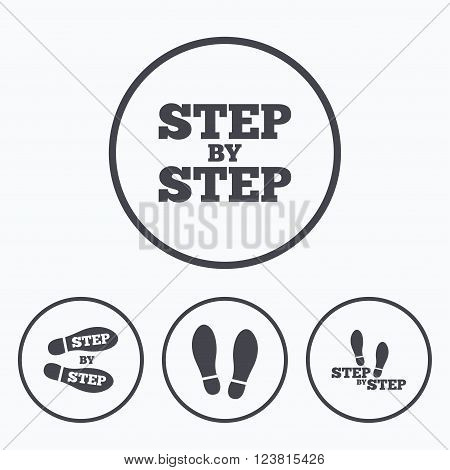 Step by step icons. Footprint shoes symbols. Instruction guide concept. Icons in circles.