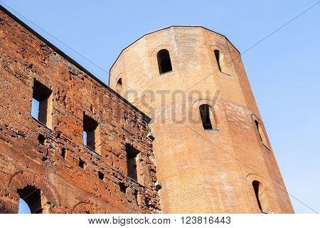 Porta Palatina - Palatine Towers in Turin. Turin Piedmont Italy